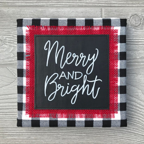 Merry and Bright – Handmade Décor – 8x8""