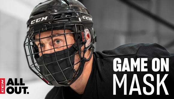 CCM game on mask offers a safe game while being comfortable and easy to use. Attaching to the cage of the helmet and sitting closely to the players face for max coverage and protection, while not obstructing the view.