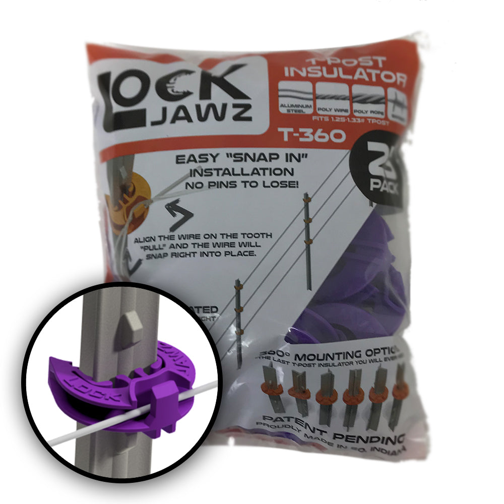 LockJawz (25/pk) Electric Fence T Post Insulators - Purple (T-360)