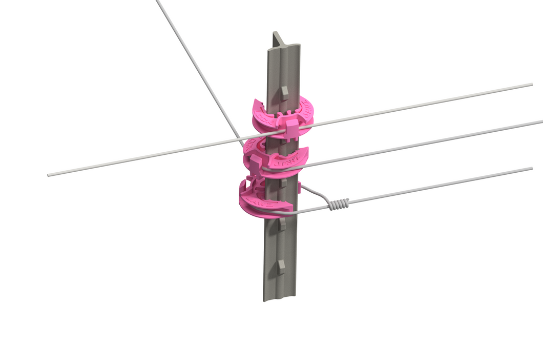 LockJawz (25/pk) Electric Fence T Post Insulators - Custom PINK (T-360)