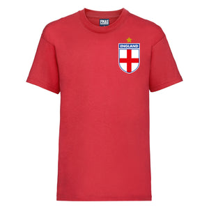 Kids England Away Cotton Football T-shirt With Free Personalisation - Red