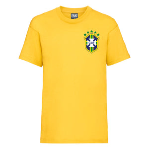 Kids Brazil Home Football T-shirt With Free Personalisation - Sunflower