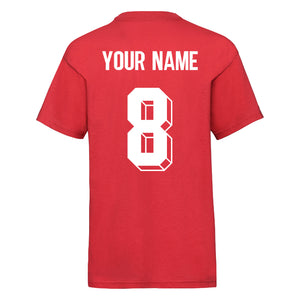 Kids Wales Home Cotton Football T-shirt With Free Personalisation - Red