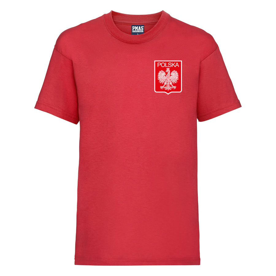Kids Poland Home Cotton Football T-shirt With Free Personalisation - Red