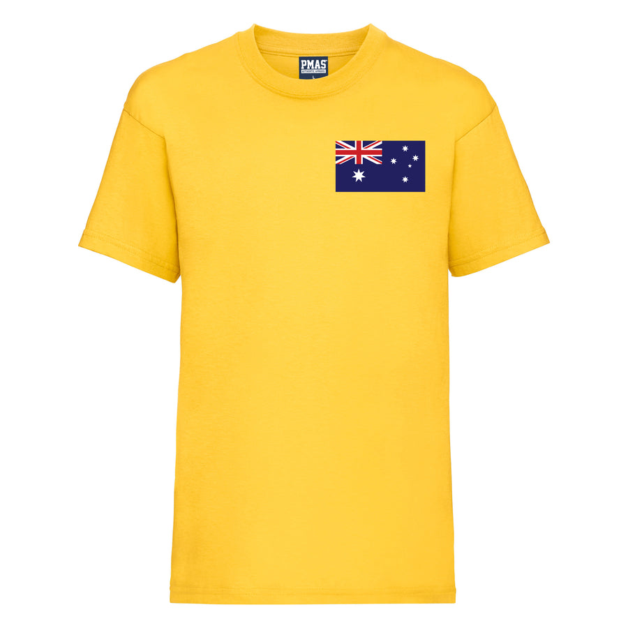 Kids Australia Home Football T-shirt With Free Personalisation - Sunflower