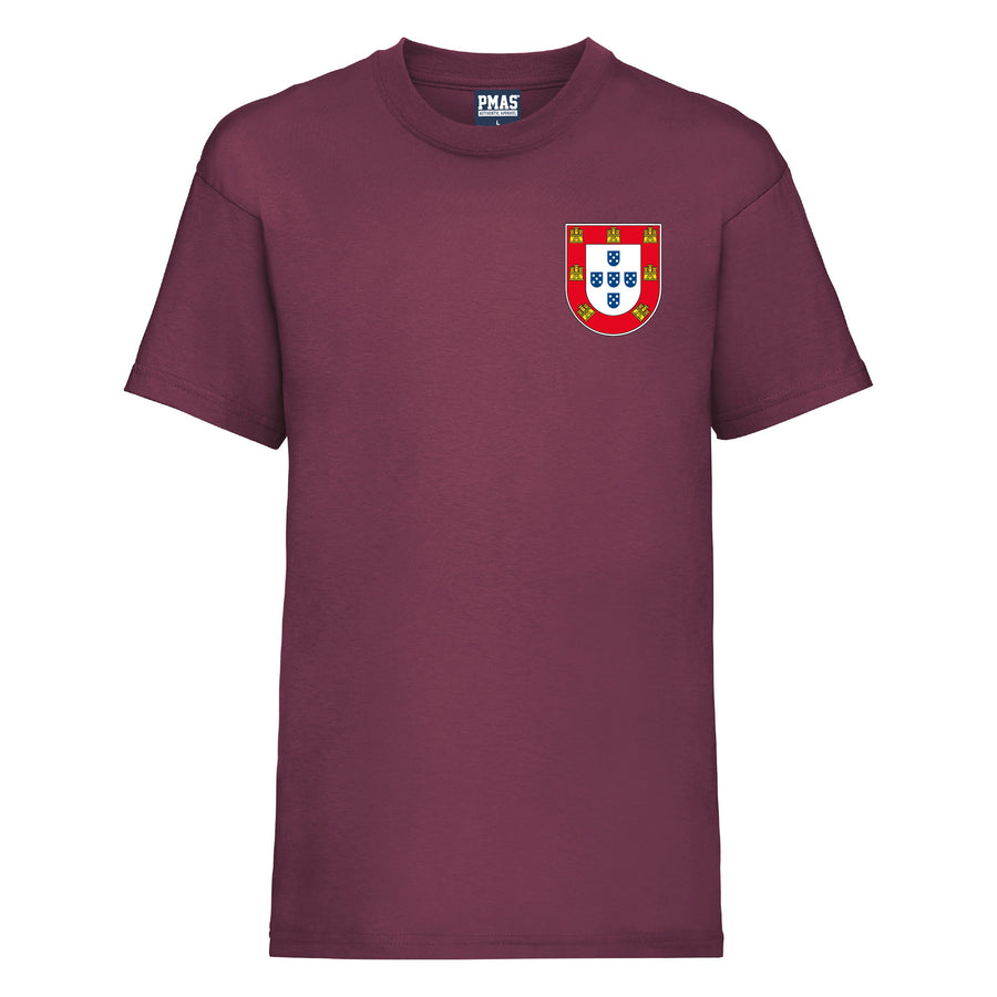 Kids Portugal Home Cotton Football T-shirt With Free Personalisation - Burgundy