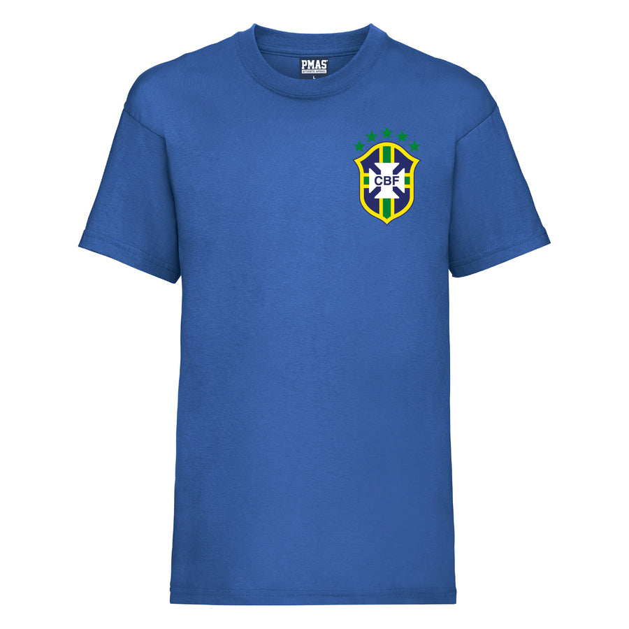 Kids Brazil Away Cotton Football T-shirt With Free Personalisation - Royal