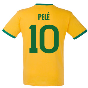 Adults Brazil Brasil Home Pele Embroidered Retro Football T-Shirt Back