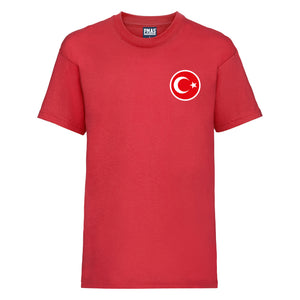 Kids Turkey Away Cotton Football T-shirt With Free Personalisation - Red