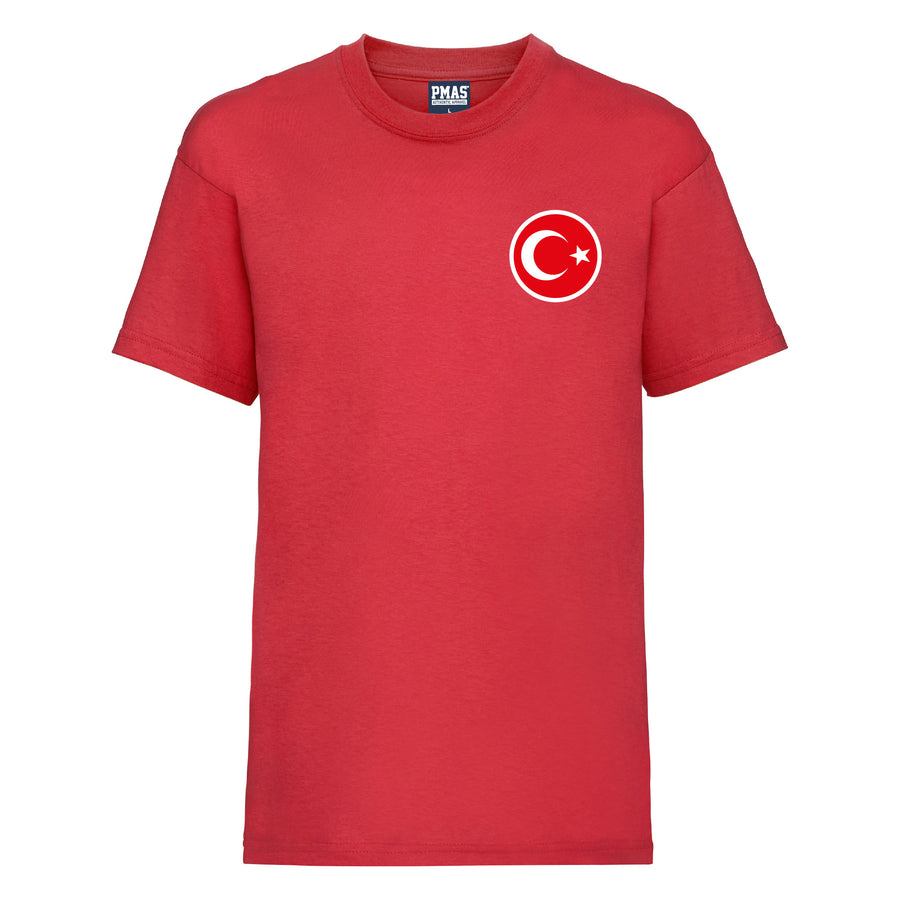 Kids Turkey Away Yilmaz Cotton Football T-shirt - Red