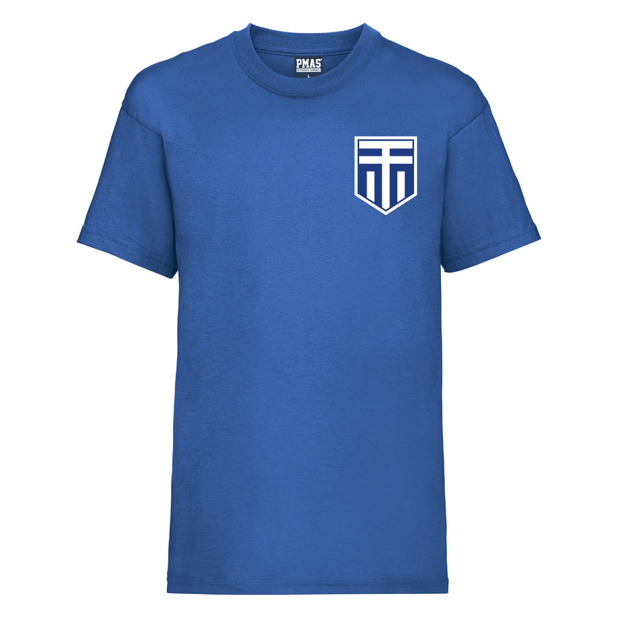 Kids Greece Away Cotton Football T-shirt With Free Personalisation - Royal