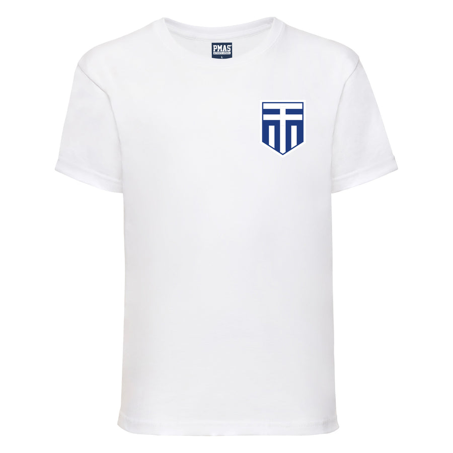 Kids Greece Home Cotton Football T-shirt With Free Personalisation - White