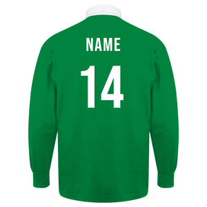Adults Ireland Vintage Style Long Sleeve Rugby Football Shirt with Free Personalisation - Green