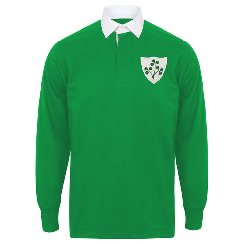 Adult & Kid Ireland Irish Vintage Long Sleeve Rugby Football Shirt with Free Personalisation - Green