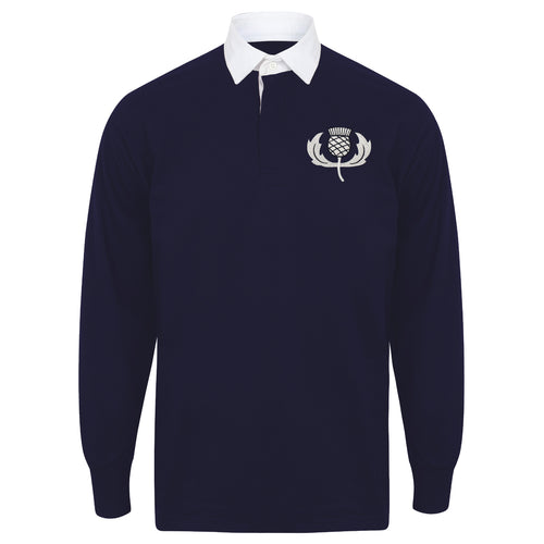 Mens Scotland Scottish Vintage Long Sleeve Rugby Football Shirt + Free Personalisation - Blue