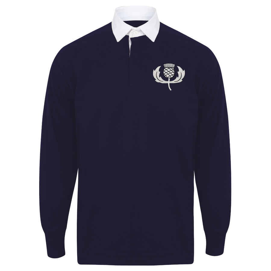 Kids Scotland Scottish Vintage Long Sleeve Rugby Football Shirt + Free Personalisation - Blue