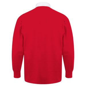 Kids Wales CYMRU Vintage Long Sleeve Rugby Shirt with Free Personalisation - Red white
