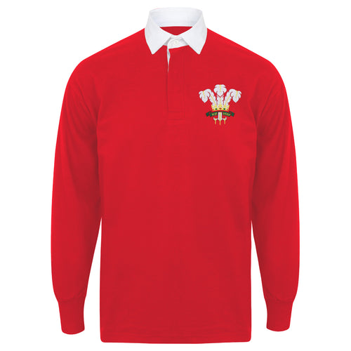 Adults & Kids Wales Welsh Vintage Long Sleeve Rugby Football Shirt with Free Personalisation - Red