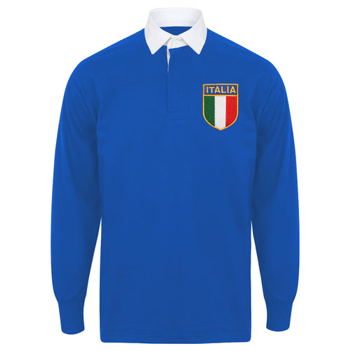 Adult & Kids Italy Italia Vintage Long Sleeve Rugby Football Shirt with Free Personalisation - Blue