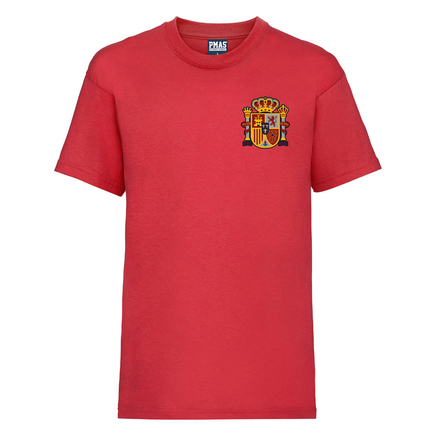 Kids Spain Espana Away Cotton Football T-shirt With Free Personalisation - Red