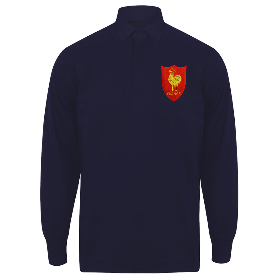 Adults France Vintage Style Long Sleeve Rugby Shirt with Free Personalisation - Navy Blue