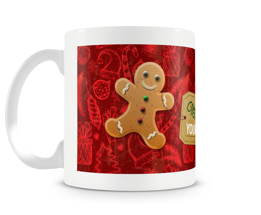 Christmas Gingerbread Man Printed Ceramic Mug - White