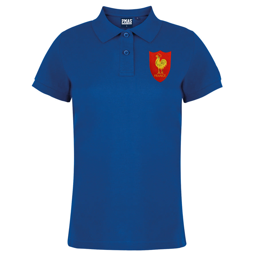 Ladies France Embroidered Crest Rugby Polo Shirt - Royal
