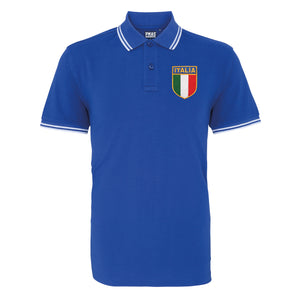 Adults Italy Italia Embroidered Crest Rugby Polo Shirt - Navy white