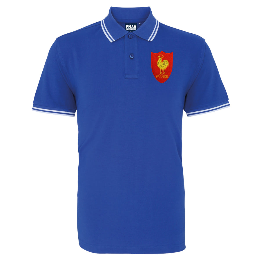 Adults France Embroidered Crest Rugby Polo Shirt - Royal white