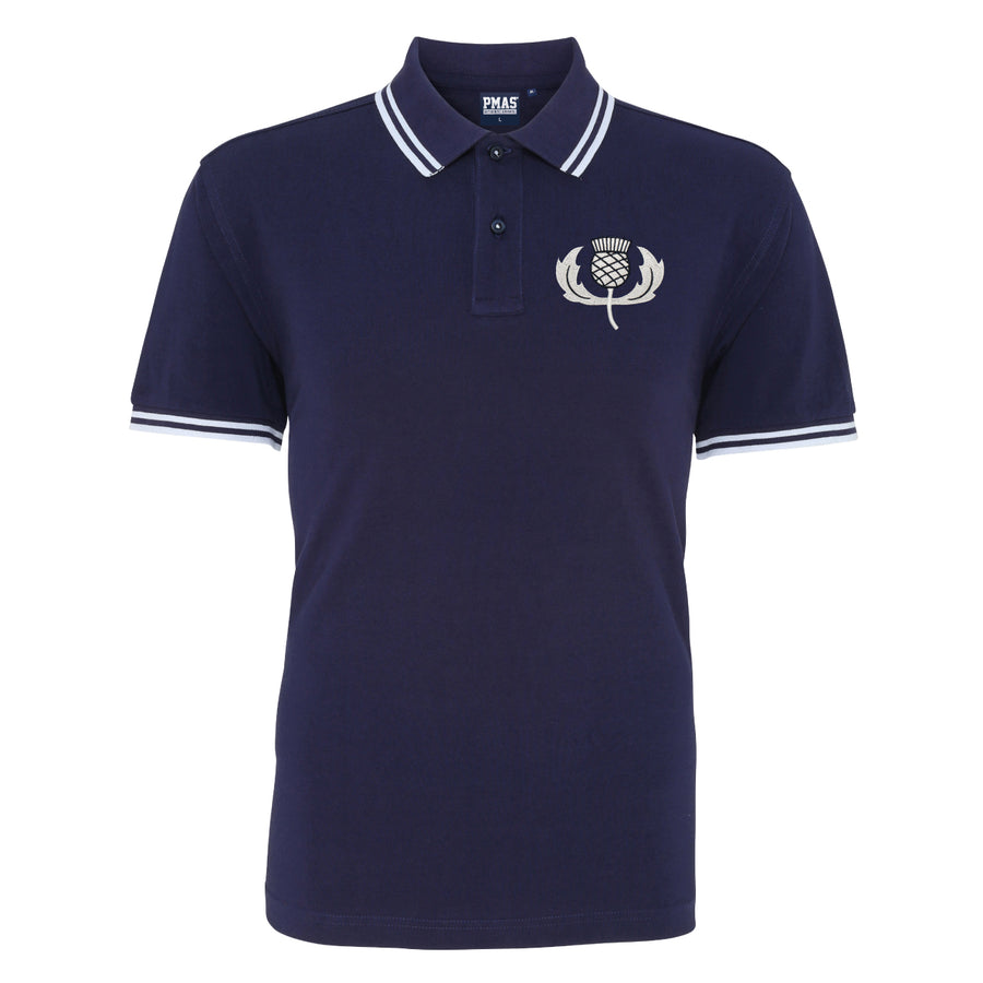 Adults Scotland Embroidered Crest Rugby Polo Shirt - Navy white