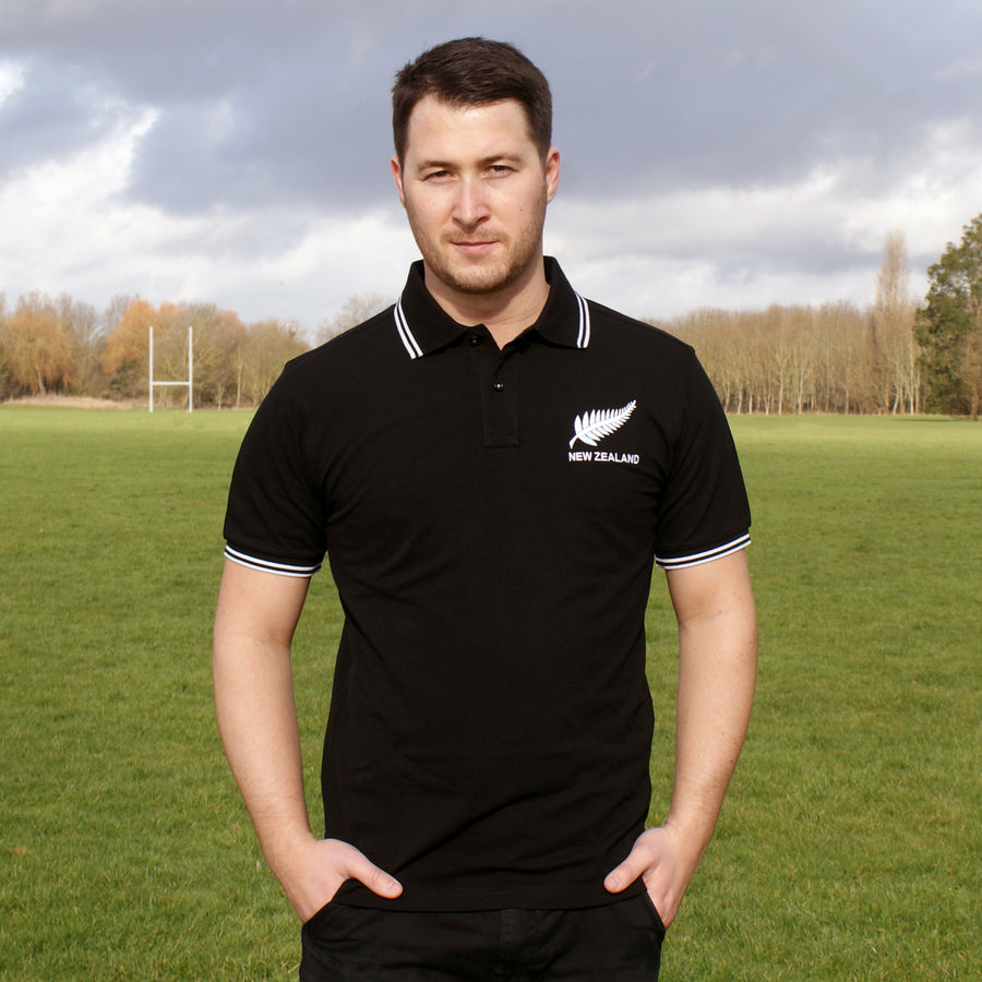 Adults New Zealand Embroidered Crest Rugby Polo Shirt - black white