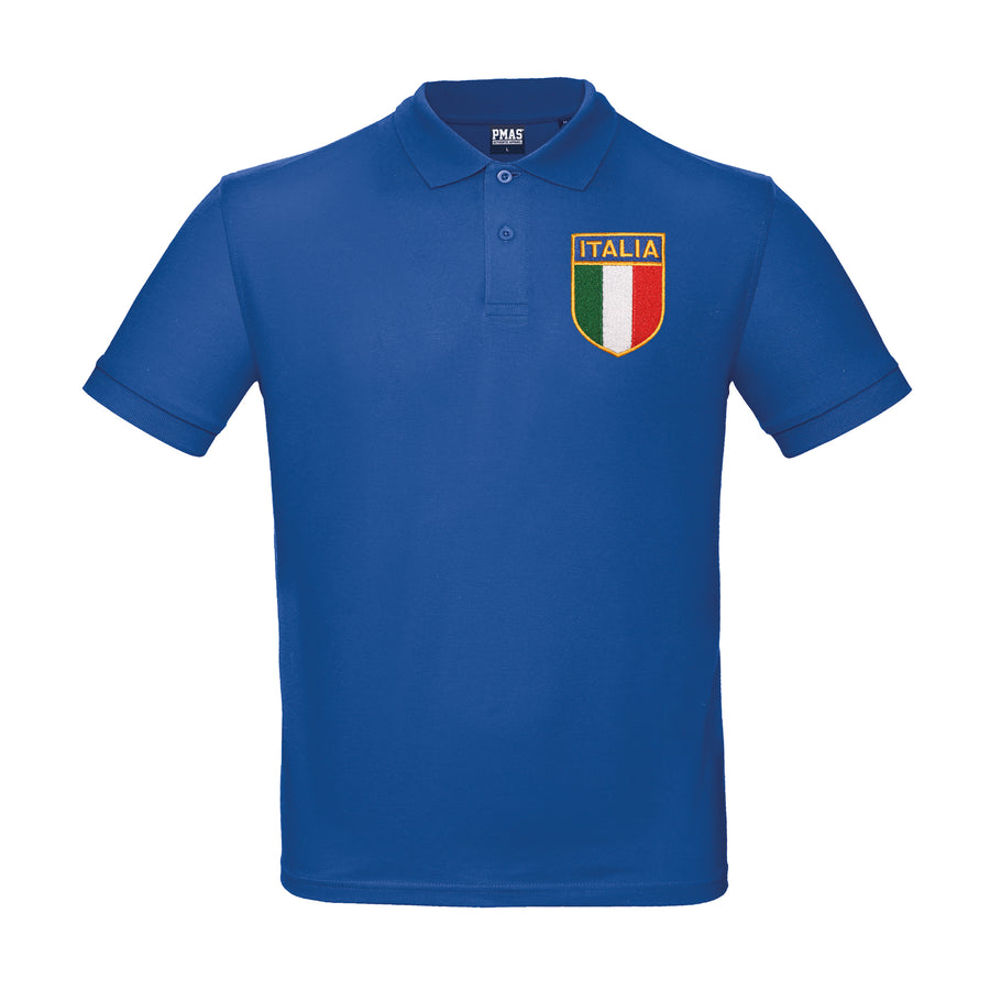 Kids Personalised Italy Italia Embroidered Crest Rugby Polo Shirt - Royal