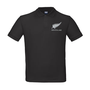 Kids Personalised New Zealand Embroidered Crest Rugby Polo Shirt - Black