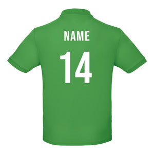 Kids Personalised Ireland Eire Embroidered Crest Rugby Polo Shirt - Real green