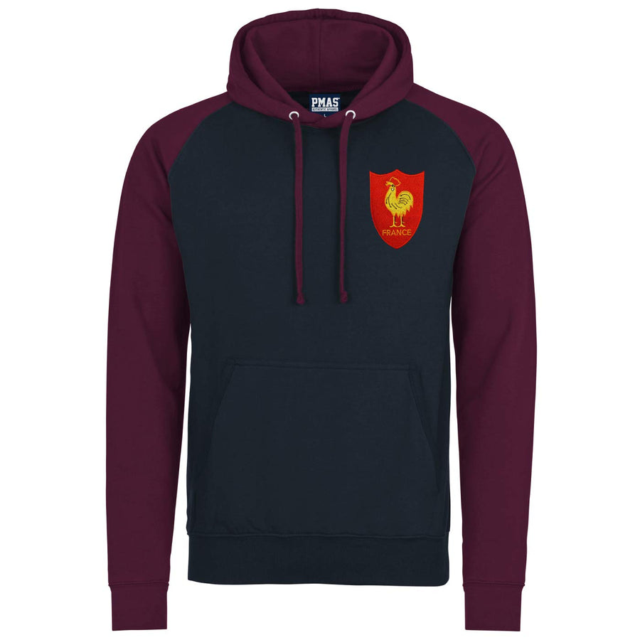 Adult France Retro Style Rugby Baseball Hoodie With Embroidered Crest - Oxford Navy Burgundy