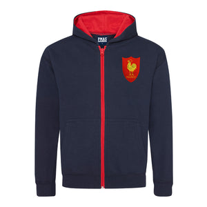 Kids France Retro Style Rugby Zipped Hoodie With Embroidered Crest - Navy Blue Fire Red