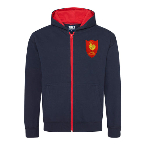 Kids France French Vintage Retro Embroidered Rugby Football Zipped Hoodie - Navy Blue