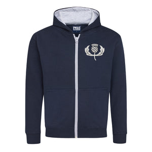 Kids Scotland Retro Style Rugby Zipped Hoodie With Embroidered Thistle Crest - French navy Heather Grey
