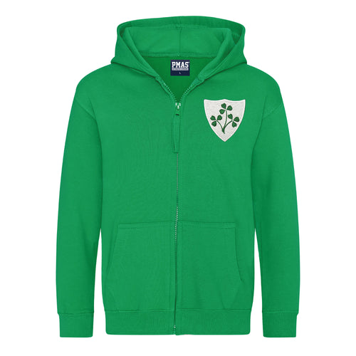 Kids Ireland Irish Vintage Retro Embroidered Rugby Football Zipped Hoodie in Green
