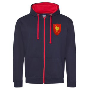 Adult France Retro Style Rugby Zipped Hoodie With Embroidered Crest - French Navy Fire Red