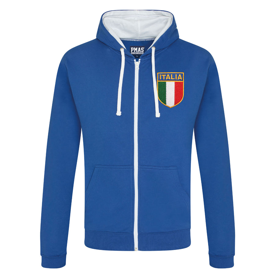 Adult Italy Italia Retro Style Rugby Zipped Hoodie With Embroidered Crest - Royal blue arctic white