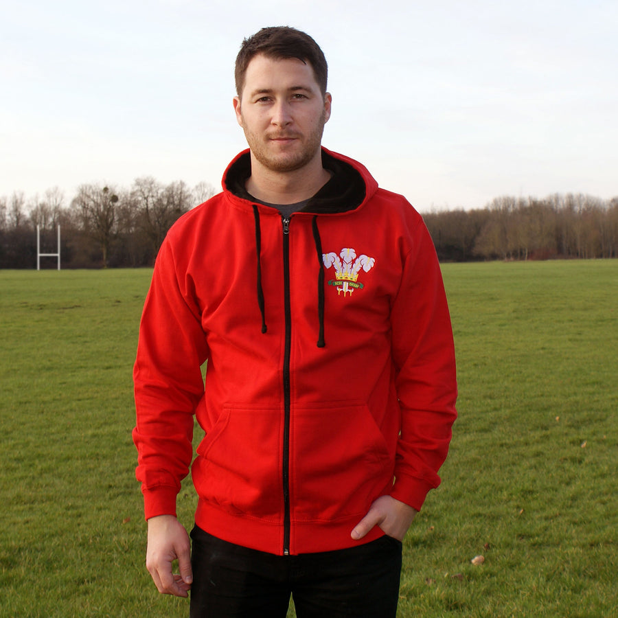 Adult Wales Retro Style Rugby Zipped Hoodie With Embroidered Crest - Fire Red Jet Black