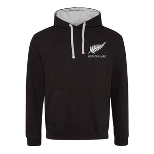 Adult New Zealand Retro Style Rugby Hoodie With Embroidered Crest - Jet Black Heather Grey