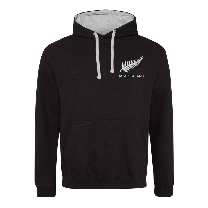 New Zealand Vintage Retro Embroidered Rugby Football Sport Hoodie in Adult & Kids Sizes in Black