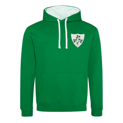 Adult Unisex Ireland Irish Vintage Retro Embroidered Rugby Football Sport Hoodie in Green