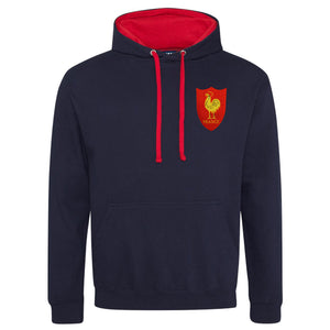 Adult France Retro Style Rugby Hoodie With Embroidered Crest - French Navy Fire Red