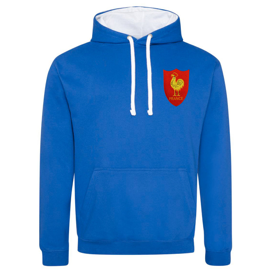 Adult France Retro Style Rugby Hoodie With Embroidered Crest - Royal Blue Arctic White