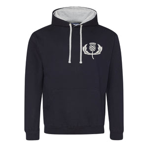 Adult Scotland Retro Style Rugby Hoodie With Embroidered Thistle Crest - French Navy Heather Grey