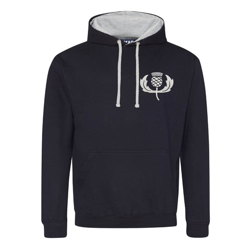 Adult & Kids Scotland Scottish Vintage Embroidered Rugby Football Sport Hoodie - Navy Blue