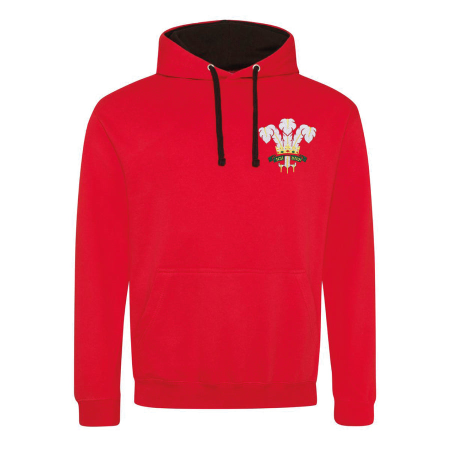 Adult Unisex Wales Welsh Vintage Retro Embroidered Rugby Football Sport Hoodie in Red